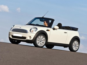 Mini Cooper Convertible side Sydney hire rental
