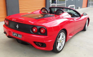 360 spider rear quarter side Ferrari hire Sydney Castle Hill