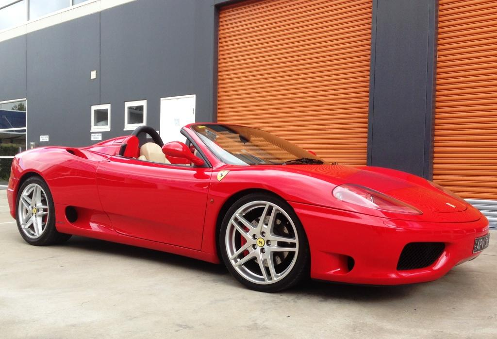 Ferrari 360 spider sports car rental Sydney side angle